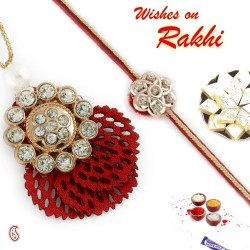 American Diamond Stud with Red Cutwork base Bhaiya Bhabhi Rakhi Set
