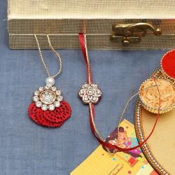 American Diamond Stud with Red Cutwork Base Bhaiya Bhabhi Rakhi Set