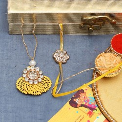 American Diamond Stud with Yellow Cutwork Base Bhaiya Bhabhi Rakhi Set