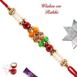 American Diamonds and Multicolor Beads Work Rakhi