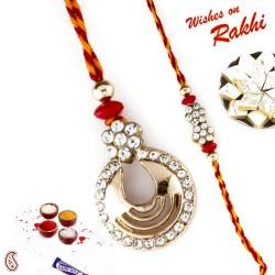 Amiable American Diamonds Studded in Bhaiya Bhabhi Rakhi Set