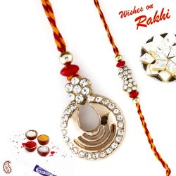 Amiable American Diamonds Studded in Bhaiya Bhabhi Rakhi Set