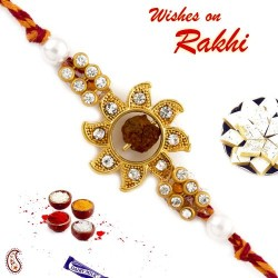 Antique Gold Sun Style Rudraksh Rakhi with AD