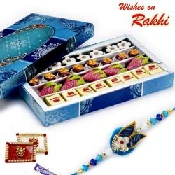 Assorted Kaju Laddu and Strawberry Sweets with FREE 1 Rakhi