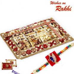 Assorted Rose and Dryfuit Sliced Chikki Sweets Pack with Rakhi