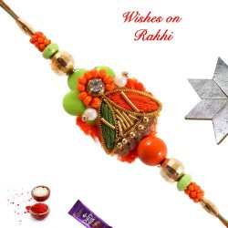 Attractive Colored Beads and AD Rakhi