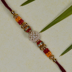 Attractive Multicolor Beads and American Diamonds Rakhi