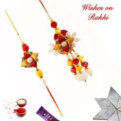 Attractive Pearls Beads and AD Bhaiya Bhabhi Rakhi Set