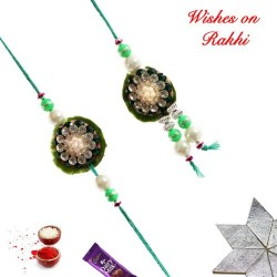 Awesome AD Pearls and Beads Bhaiya Bhabhi Rakhi Set