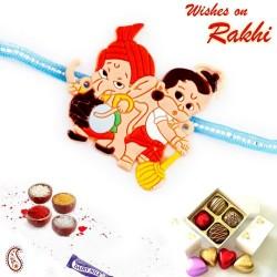 Bal Hanuman and Dholki Ganesha Motif Kids Rakhi