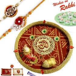 Bandhej Pattern OM Motif Thali Hamper with Set of 2 Traditional Rakhis
