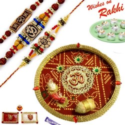 Bandhej Pattern OM Motif Thali Hamper with Set of 3 Traditional Rakhis