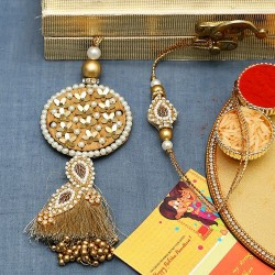 Beads and Foil Work Bhaiya Bhabhi Rakhi Set