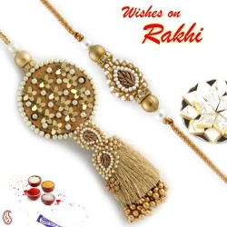 Beads and Foil work come together in this Bhaiya Bhabhi Rakhi Set