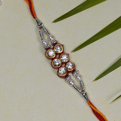 Beautiful AD Beads and Pearls Rakhi