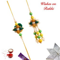 Beautiful AD Pearls and Beads Bhaiya Bhabhi Rakhi Set