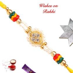 Beautiful AD Pearls and Beads Rakhi