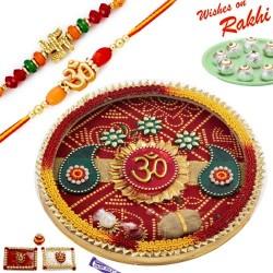 Beautiful Bandhej OM Motif Thali Hamper with Set of 2 Divine Rakhis