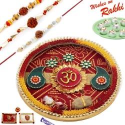 Beautiful Bandhej OM Motif Thali Hamper with Set of 3 Rakhis