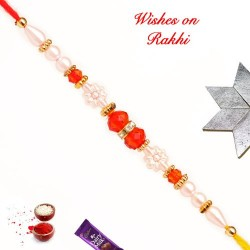 Beautiful Colored Beads and Pearls Work Rakhi