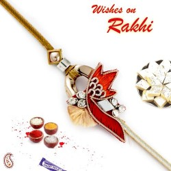 Beautiful Design AD Studded Zardosi Rakhi