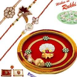 Beautiful Gat and Ganesh Motif Thali Hamper with Set of 3 Traditional Rakhis