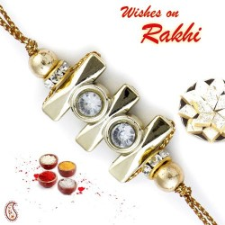 Beautiful Golden Beads AD Studded Rakhi