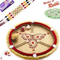 Beautiful Kundan work Paisley Design Rakhi Pooja Thali with Rakhi