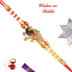 Beautiful Meena Work Peacock Rakhi with AD Pearls and Beads