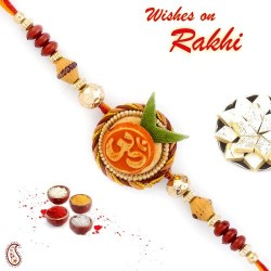 Beautiful OM Motif Mauli Thread Rakhi