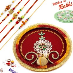 Beautiful OM Pooja Thali Hamper with Set of 5 Rakhis