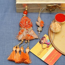 Beautiful Orange Zardosi Work Bhaiya Bhabhi Rakhi Set