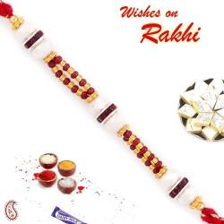 Beautiful Pearl & Maroon Beads Studded Rakhi