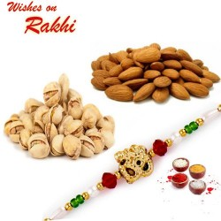 Beautiful Rakhi with Almonds and Pistachio Hamper