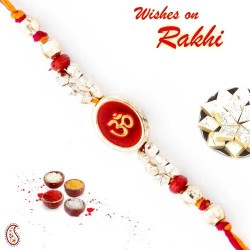 Beautiful Red and Gold Beads Studded OM Thread Rakhi