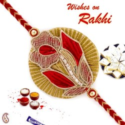 Beautiful Red and Golden Flower Design Rakhi with Zardosi Work