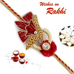 Beautiful Red and Golden Flower Zardosi Rakhi
