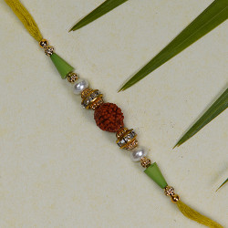 Beautiful Rudraksh Rakhi with Pearls and Beads