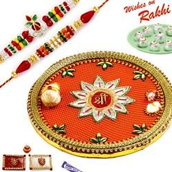 Beautiful SHREE Pooja Thali Hamper with Set of 2 Traditional Rakhis