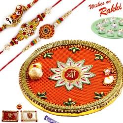 Beautiful SHREE Pooja Thali Hamper with Set of 3 Traditional Rakhis