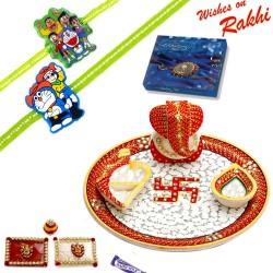 Beautiful Swastik Marble Thali Hamper with Set of 2 Kids Rakhis