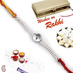 Beautiful White Crystal Silver Chain Rakhi