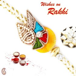Beautiful White Knot Thread Zardosi Rakhi