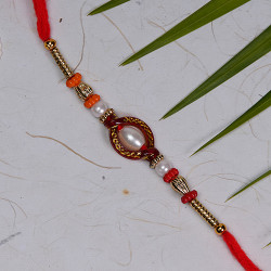 Beautiful White Pearls with Colored Beads Rakhi