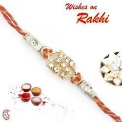 Beautifully Designed Swastik Mauli Thread Rakhi with AD