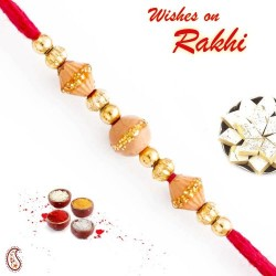 Beige and Gold Beads Embellished Thread Rakhi