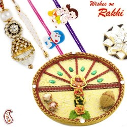 Beige Shade Ganesha Motif Pooja Thali with Family Rakhi Set