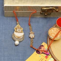 Bhaiya Bhabhi Rakhi Set with Crystal Beads, Pearls and Metallic Base