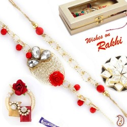 Bhaiya Bhabhi Rakhi Set with Metal Filigree work