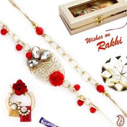 Bhaiya Bhabhi Rakhi Set with Metal Filigree work